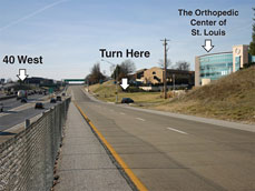 Map for The Orthopedic Center of St. Louis